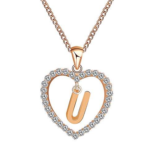 POIUDE Damenhalskette Silberhalskette Mode Frauen Geschenke 26 Englisch Brief Name Kette Anhänger Halskette Schmuck Sterling(U, 24CM)
