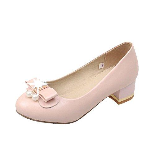 AgooLar Damen Rund Zehe Niedriger Absatz Rein Ziehen Auf Pumps Schuhe Pink