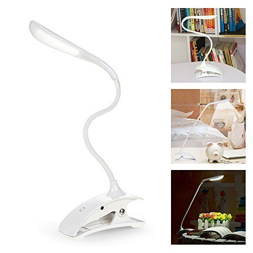 ELINKUM Lampe de Bureau sans fil à Led Tactile Rechargeable Flexible avec Câble micro-USB Lampe de Lecture Réglable à Pince Veilleuse Luminosité Protection des Yeux