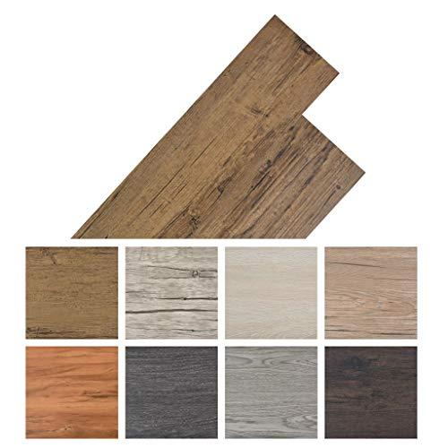 *yorten 36 STK. PVC Laminat Dielen Selbstklebend PVC-Bodenbelag 5,02 m² rutschfest Fußbodenbelag Walnussbraun 91,5 x 15,2 cm*
