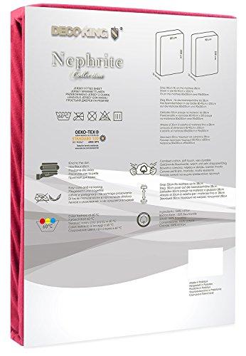 DecoKing 18804 80x200-90x200 cm Spannbettlaken Bordeaux 100% Baumwolle Jersey Boxspringbett Spannbetttuch Bettlaken Betttuch Maroon Nephrite Collection - 3