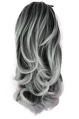 Prettyshop estensioni dei capelli di 35cm clip su ponytail parrucchino ondulato fibra sintetica resistente al calore grigio miscela # 1tray h126