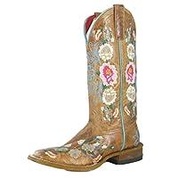 Macie Bean Boots Womens Macie Bean Rose Garden Bunch Cowgirl Boots 9.5 B(M) US Honey