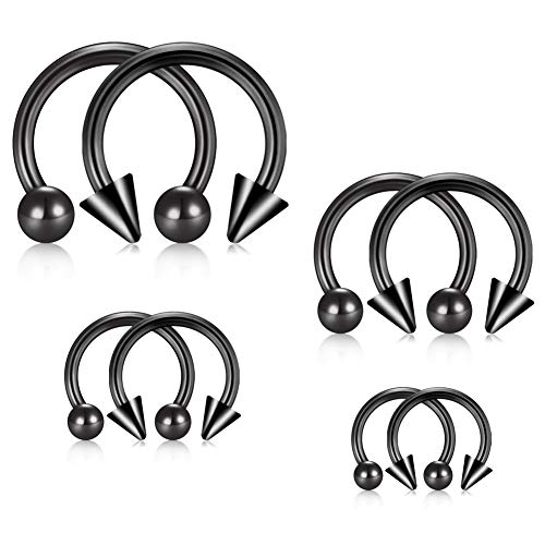 Jforyou 14g (1.2mm) 4 paio orecchino in acciaio inossidabile piercing a ferro di cavallo per orecchio seno trago labbra naso setto orecchino anello cerchio,interno diametro 6/8/10/12mm