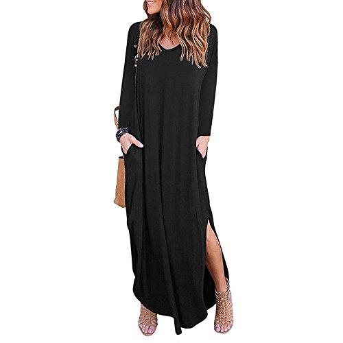 Kleider SANFASHION Maxikleid Damen Frauen V-Ausschnitt Fest Langarm Lose Dress Strand Abendkleider