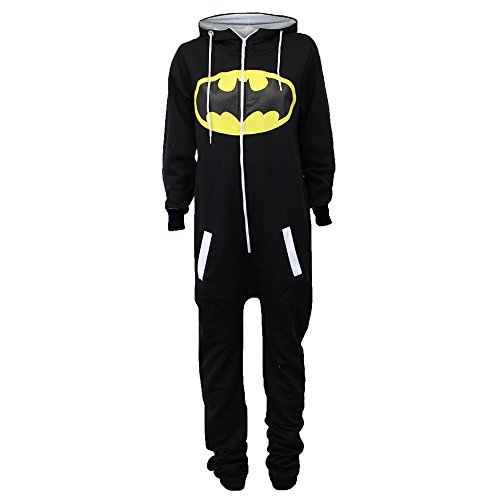 Damen Overalls Batman Superman Body All In One Sommer Overall Mit Kapuze - Schwarz - SABATMAN2, M