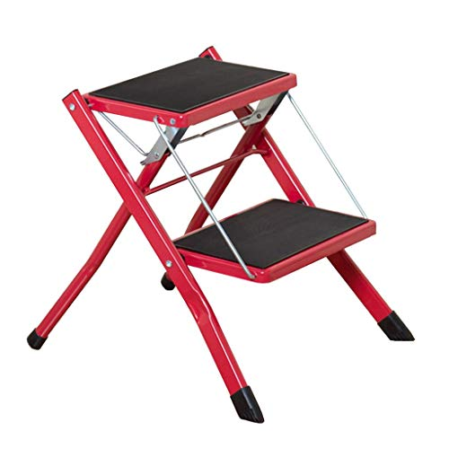 JHUEN 2-Step Metal Step Stool Portable Compact Anti Slip Mat Tread Heavy Duty Folding Kitchen Ladder Stool,150 kg Capacity(Red) - Step Ladder 6 Tread