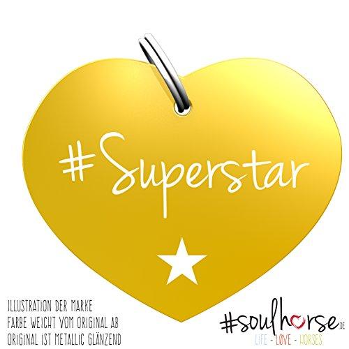 """Pferde Glücksmarke Herzmarke """"#Superstar"""" in gold von Soulhorse fürs Halfter, Trense und Zaumzeug"""