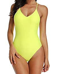 0926ec935027a RIOJOY Women Plunge V Neck One Piece Swimsuit, Adjustable Cross Strap Back Monokini  Swimwear, High Cut Runched…