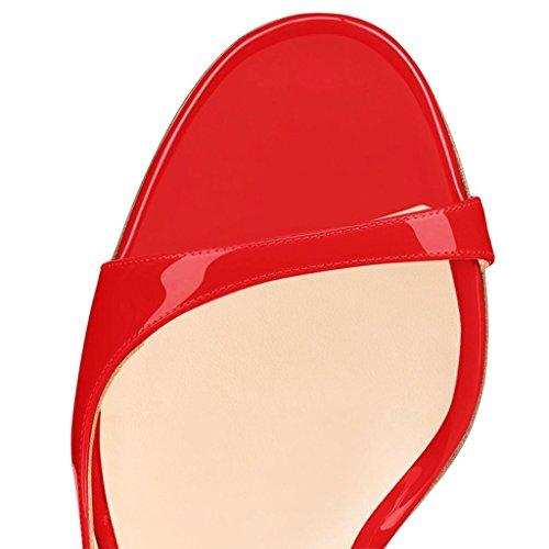 EDEFS - Scarpe col Tacco - Scarpe da Donna - Sandali - Peep Toe - High Heels Rosso