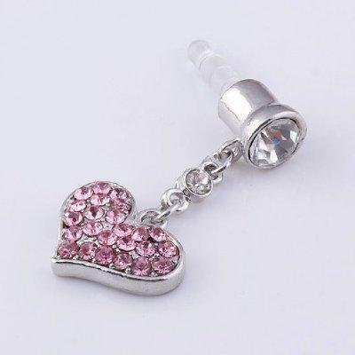 SODIAL(R) Tappo antipolvere con cuore cristallo rosa per auricolare jack da 3,5mm per Iphone 4 4s Ipad