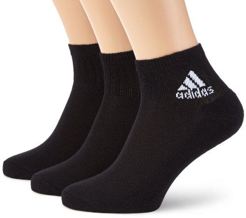 adidas Socken Ankle Half-Cushioned 3 Pair Pack, Black/White, 35-38, Z25598 (Lo-3 Pack Pair)