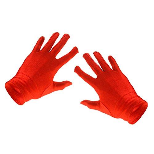guanti rossi Donne Guanti Corti Sole Protezione Costume Opera Partito Vestito - Rosso