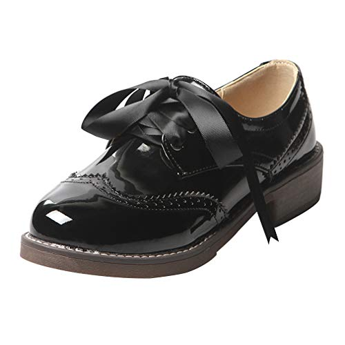 UH Damen Oxford Schnüschuhe BroguePumps schnürpumps Flach Vintage Schuhe