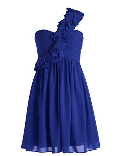 Dressystar Robe de soirée/de bal courte, une Bretelle, en Mousseline Bleu Saphir