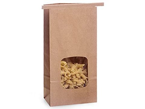 1 Lb. Tin Tie Bag Bakery Bag w/ Window - Kraft by Premium Bags - 1 Lb Tin