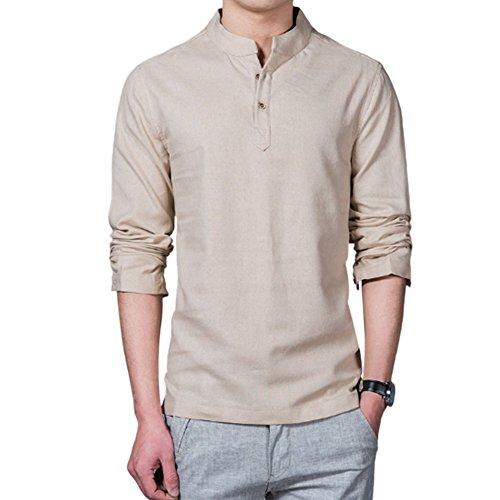 Haodasi Herren Pure Farbe Baumwolle Leinen Hemd Schlank Lange Ärmel T-Shirt Jacke Tops Komfort (Leinen Jacke Sport)