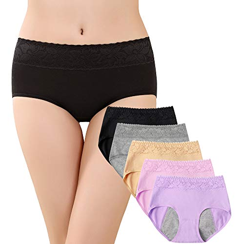 SPFAS Frauen Baumwolle Menstruation Unterwäsche Soft Unterwäsche Menstruationszyklus Höschen Leak Proof Control Physiologische Auslaufsicher Atmungsaktive Slips 5er Pack (Höschen Menstruation)