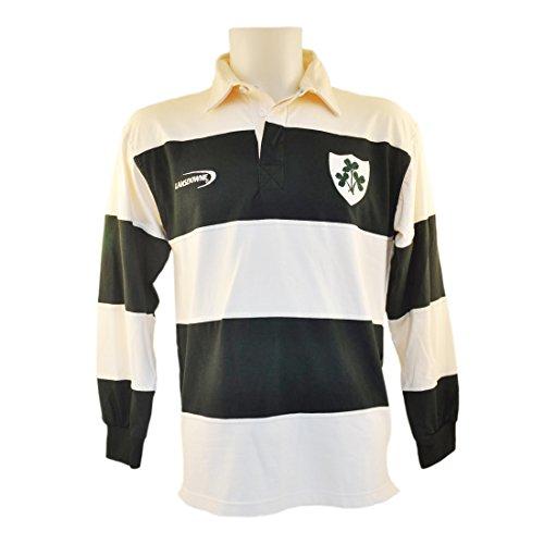 Poloshirt mit Rugby Irish Shamrock Wappen, Streifen in creme und grün (Large) Shamrock Creme