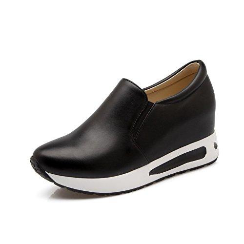 Weiches Material Damen Schwarz Rund Rein Zehe Auf Allhqfashion Schuhe Ziehen Pumps nIdtTqI
