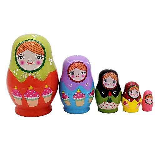 NICEWL 5 Stück Russische Nesting Dolls-Matroschka Holz Stapeln Spielzeug, EIS Wenig Bauch Mädchen Muster Handgefertigte Spielzeug Für Kinder, Home Room Decoration