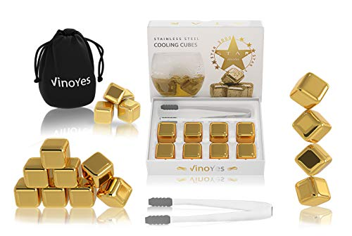 VinoYes Premium Whisky Steine in Gold oder Silber - 8 Wiederverwendbare Kühlsteine als Geschenk-Set in Edler Verpackung | Mit Zange + Beutel - Edelstahl Eiswürfel für Gin, Cocktails.