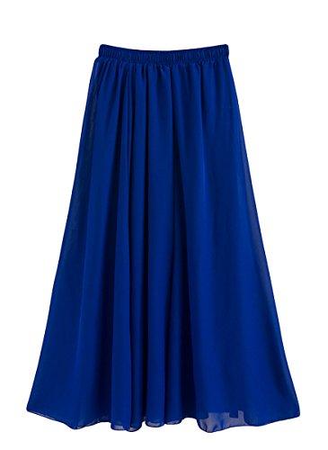 Feoya Damen Sommerrock Boho Retro Maxi Langer Rock Elastische Taille Double Layer Chiffonrock Einfarbig Faltenrock Strandrock Long Skirt Blau - 90 cm Blaues Kleid Rock