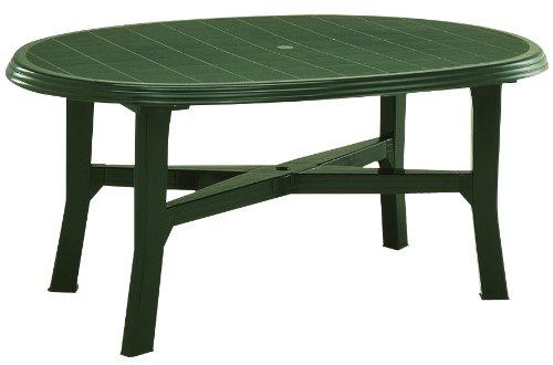 Tavolo In Plastica Giardino.Tavolo Da Giardino Plastica 165 X 110 Cm Ovale Colore Verde