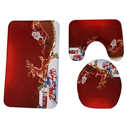 Saingace(TM) Weihnachten rutschfeste Fußmatten Hall Badezimmer Küche Decor,3 Stück Weihnachten Bad rutschfeste Podest Teppich + Deckel WC-Abdeckung + Badematte Set