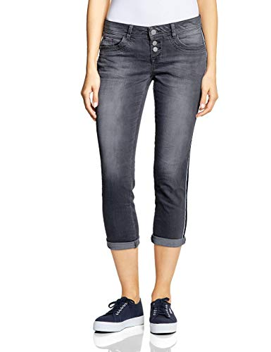 Street One Damen 372231 Crissi Slim Jeans, Grau (Authentic Grey Random Bleach), 33W/26L -