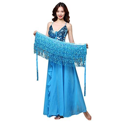 Hanomes Damen Bauchtanz Rock Kostüm Hüft Tuch Taille Kette Gürtel Glänzend Pailletten Quasten Tanzrock Kleidung