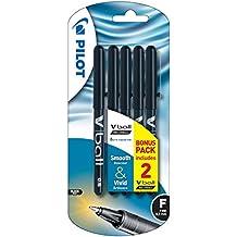 Pilot Vball - Bolígrafo de tinta líquida negro (0.5 mm, trazo fino, paquete de 5)