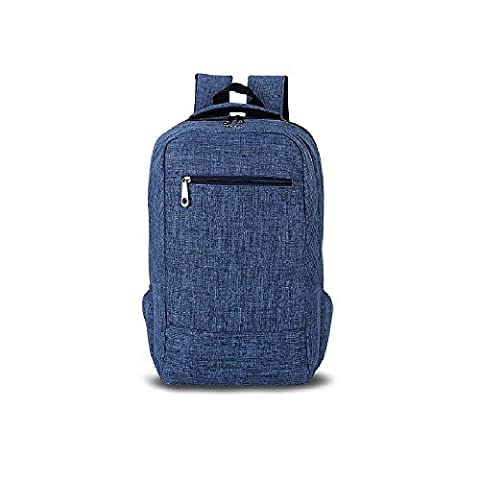 Evay Slim Canvas Laptop Backpack for School Teens Computer Backpacks with Laptop Compartment Fits Up to 15.6 Inch Notebook Macbook Bag Travel Daypack Vintage Style Lightweight University Rucksack for Women Men Backpacks Blue