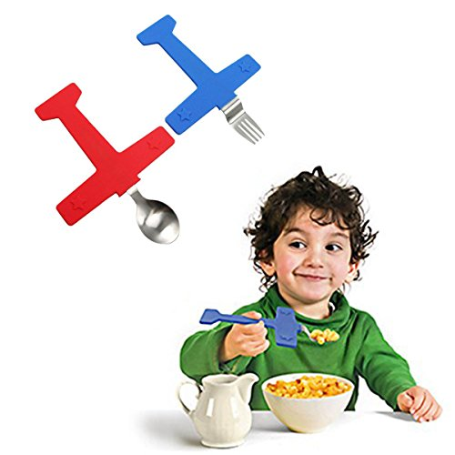 Price comparison product image LittleDi 2Piece/Set Stainless Steel Airplane Shaped Feeding Fork Spoon Tableware Set Creative Children's Dinnerware Suit Portable Training Cartoon Aircraft Novelty Cutlery Gift For Kids Baby
