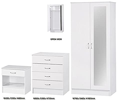 Alpha Bedroom Furniture Set with Mirror Consisting of - 1 Drawer Bedside Cabinet - 4 Drawers Chest - 2 Door Wardrobe - Available in 3 Colours (White 2 Tone)