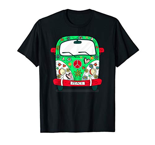 Frieden Kostüm Kind Hippie & Liebe - Van Peace Love Flower Power Retro Camper Bus Hippie Kostüm T-Shirt