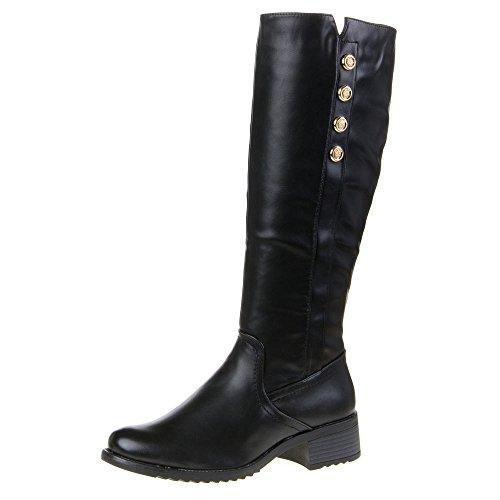 Damen Schuhe, 914-PG, STIEFEL Schwarz