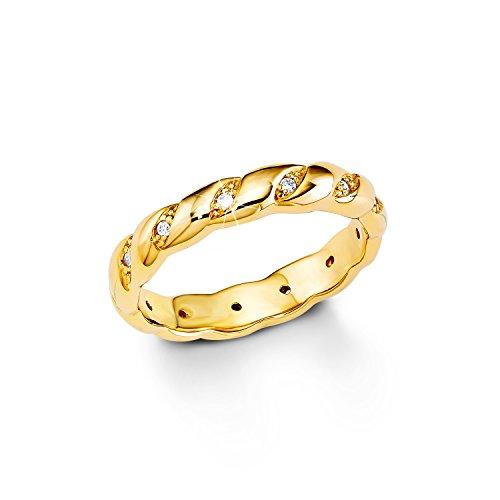 S.Oliver Damen-Ring Silber vergoldet teilvergoldet Zirkonia weiß Gr. 52 (16.6) - 508339