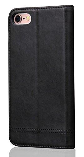 Nnopbeclik Apple Iphone 5 /5S /5G /SE Hülle, Jahrgang Style Tasche Leder Case Echt Multi Funktion Handytasche , Weich PU Leather Verrücktes Pferd Linien Muster Schutz Flip Wallet Brieftasche mit Karte Schwarz