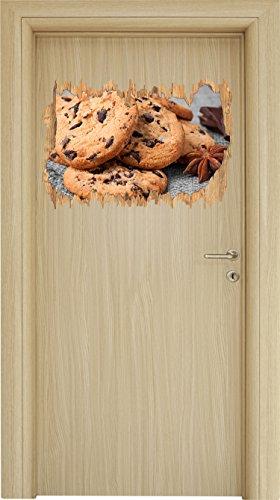 Süße Cookies mit Schokostückchen Schwarz/Weiß Holzdurchbruch im 3D-Look , Wand- oder Türaufkleber Format: 62x42cm, Wandsticker, Wandtattoo, (Für Selbstgemacht Cupcakes Halloween)