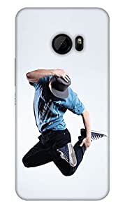 PrintHaat Designer Back Case Cover for HTC 10 :: HTC One M10 (sexy dance move :: boy dancing :: hand on head dancing step :: boy dancing in casuals with tie and hat :: love dance :: dance academy :: dance class :: in blue, white and black)