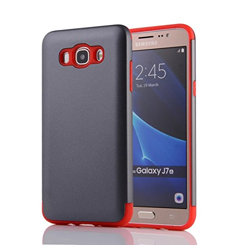 YHUISEN Galaxy J7 2016 Case, 2 In 1 PC + TPU Dual Layer Armor Hybrid Schutz Schock Absorption Hard Back Cover Fall für Samsung Galaxy J7 2016 J710 ( Color : Rose Gold ) Gray Red