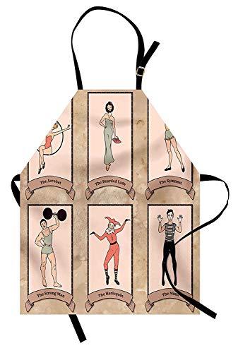 Soefipok Zirkus Schürze, Vintage Zirkus Charaktere Acrobat bärtige Dame Turner starker Mann Harlekin Mime, Unisex Küche Latzschürze mit verstellbarem Hals zum Kochen Backen Gartenarbeit, Pink Beige