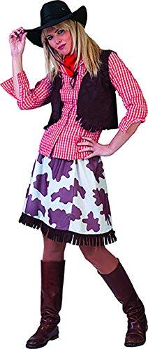 erdbeerclown - Cowgirl Kostüm mit Kuhmuster für Damen, XL, Mehrfarbig