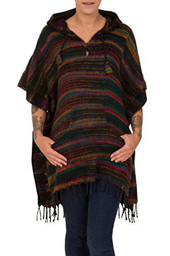 ThaiUK - Poncho - Femme Stripe Black/Rainbow