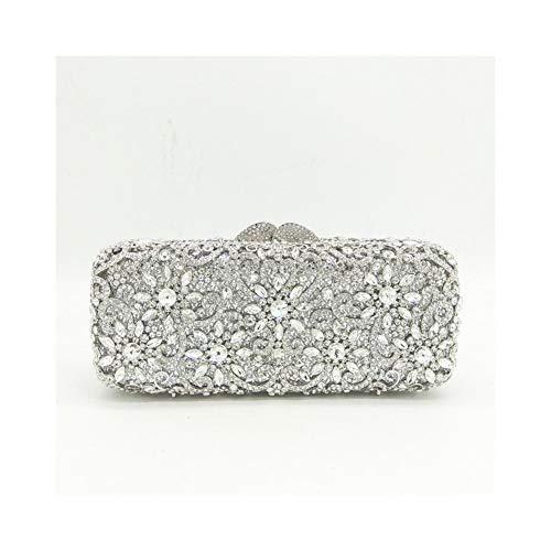 Yany Damen Abendtasche personalisierte Kristall Clutch Bag Fashion Wilden Querschnitt Square Solid Color Magnetschnalle Hard Shell Abendtasche (Color : Silver) (Wir Führen Rose Wild)