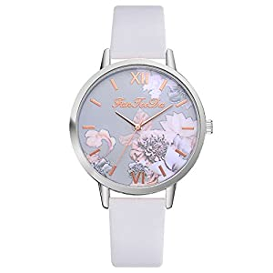 Cramberdy Uhr Damen Armbanduhr Frauen Armbanduhr Mädchen Mode Gedruckte Blume Leisure Uhren PU Leder Band Analoge Quarz Armbanduhr