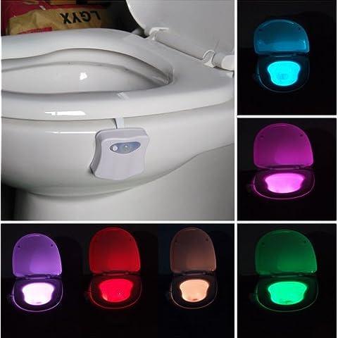 Aseo de luz LED del sensor de movimiento activado a Pila Aseo luz de la noche de inodoro con luz que cambia de color 8