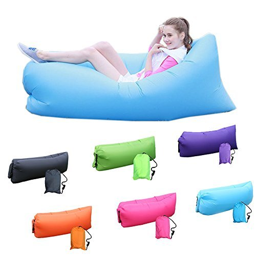 Maxeon Inflatable Sleeping Bag Beach Hangout Lazy Air Bed Use For Picnic (Blue)