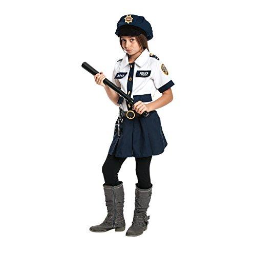 Kostümplanet® Polizei-Kostüm Kinder Mädchen komplettes Polizistin-Kostüm mit Polizeitmütze + Handschellen + Schlagstock Karneval-Kostüme Kind Größe 164